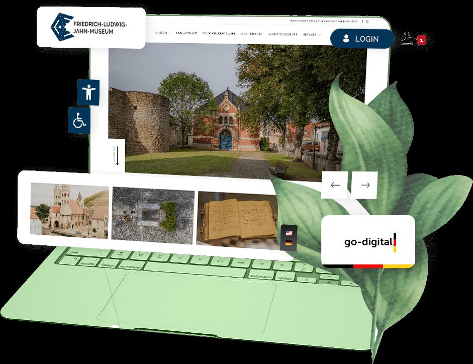 mit Ihrer Go Digital Agentur möglich: Website mit herausgezoomten Elementen wie Shop, Mitgliederbereich, Suchfunktion, Barrierefreiheit, etc.)
