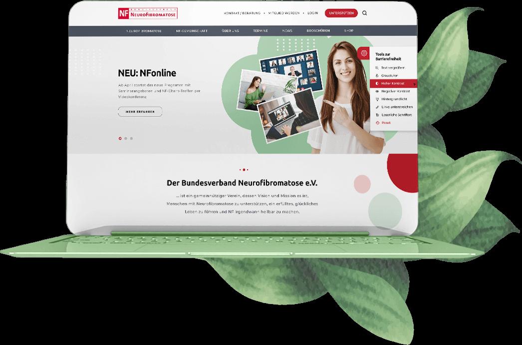 Barrierefreie Website des Bundesverband Neurofibromatose mit Tool zur Barrierefreiheit