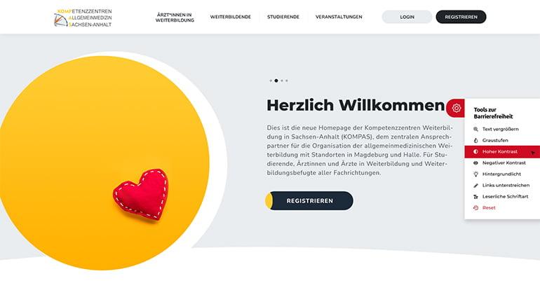 Startseite der barrierefreien Website der Kompetenzzentren Allgemeinmedizin Sachsen-Anhalt