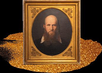 Porträt von Friedrich-Ludwig-Jahn in goldenem Rahmen