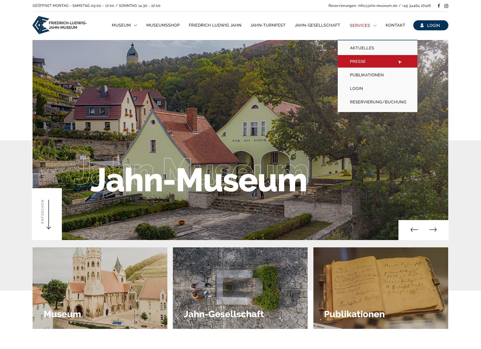 Startseite des Jahn-Museums mit ausklappbarem Menü