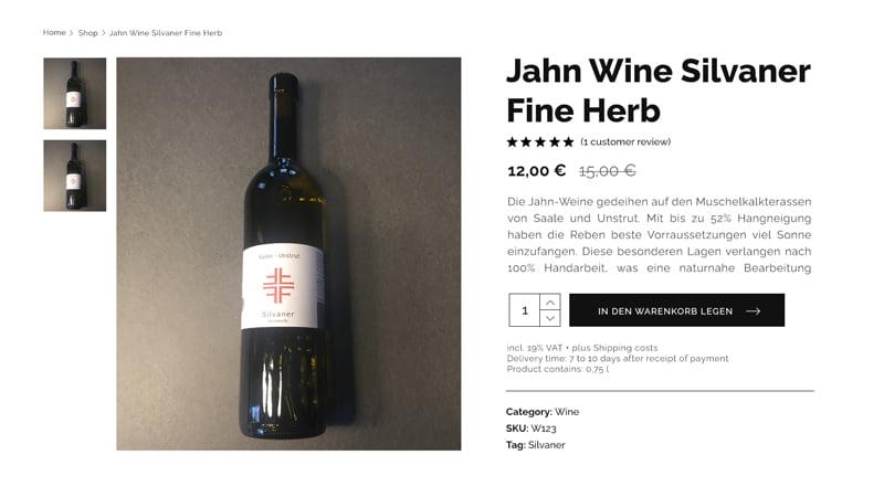 Produkteinzelseite des Jahn-Shops, hier kann man eine Rotweinflasche aus Saale-Unstrut erwerben