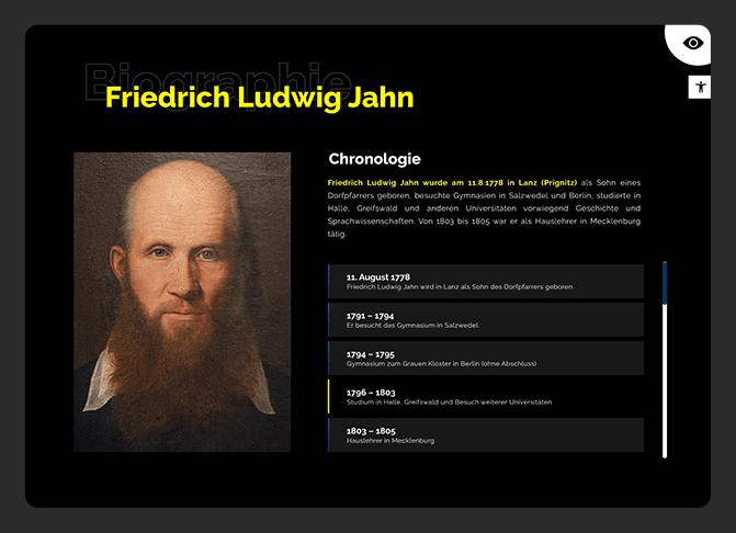 Geschichte Friedrich-Ludwig Jahns mit negativem Kontrast zur Barrierefreiheit