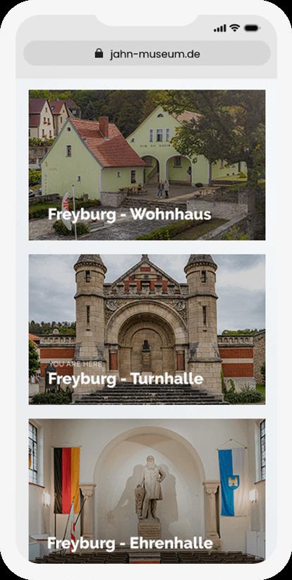 Darstellung auf mobilen Geräten der verschiedenen Jahn-Gebäude (Wohnhaus, Turnhalle und Ehrenhalle)
