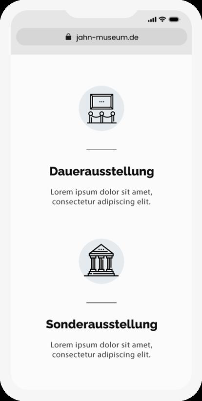 Übersicht der Leistungen des Jahnmuseums auf dem Smartphone jeweils visualisiert mit kleinen beschreibenden Bildern