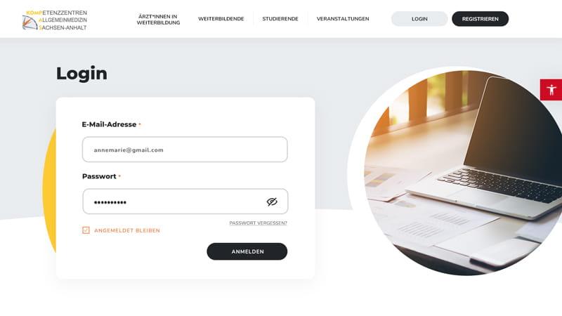 KOMPAS Login-Seite für registrierte Nutzer*innen