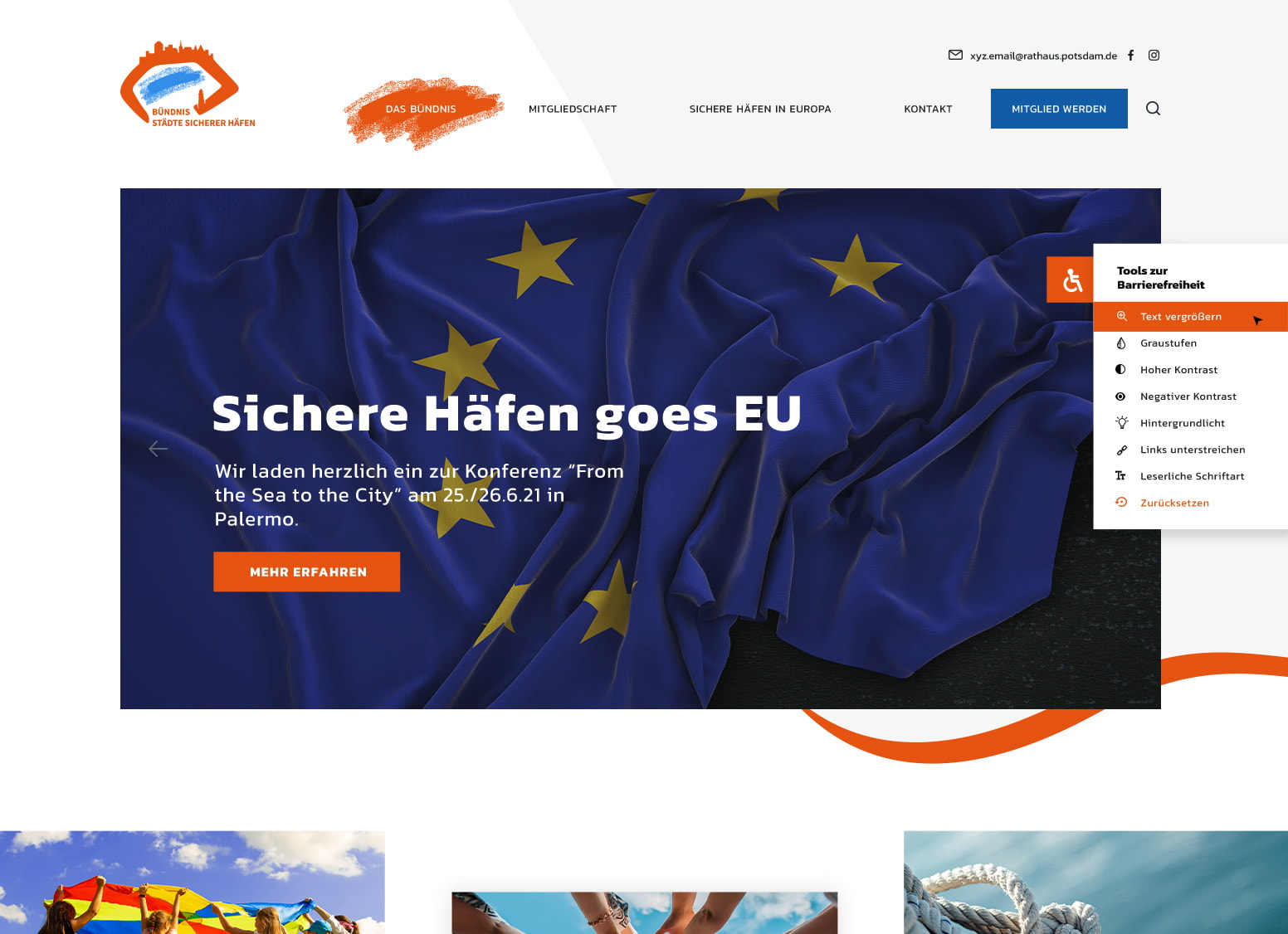 Startseite der Website des Bündnisses Städte sicherer Häfen auf dem Desktop