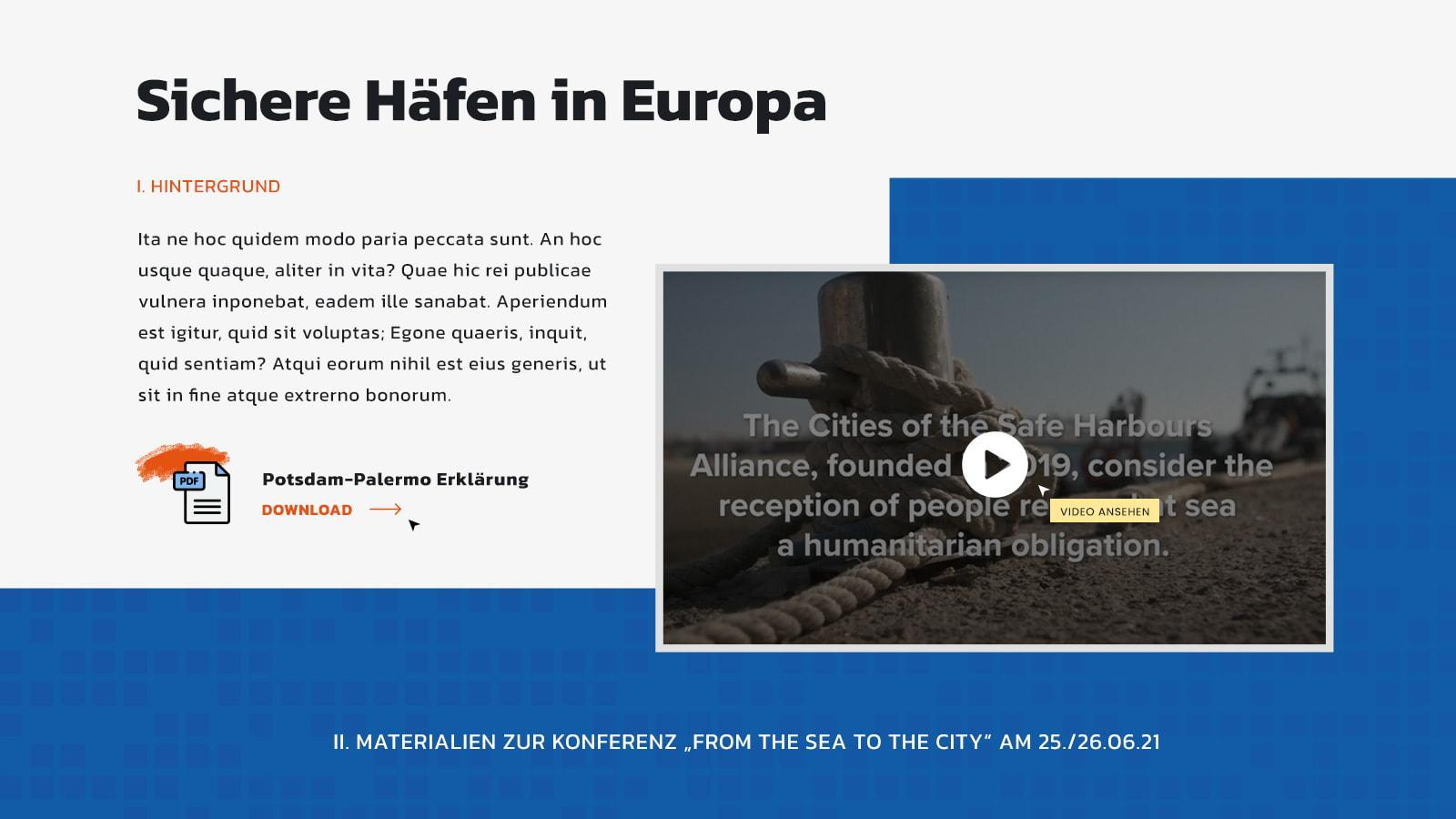 Ausschnitt aus der Website zeigt die Downloadmöglichkeit der Potsdamer Erklärung und ein eingebundenes Video über Moriah