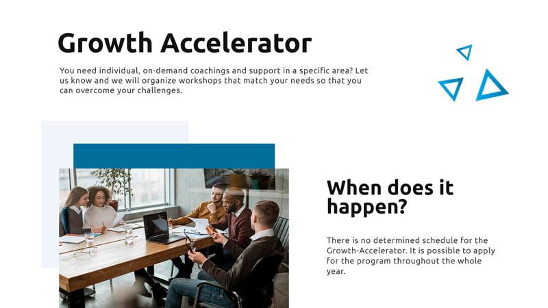 Einzelansicht des Growth-Accelerator-Programms auf dem Desktop