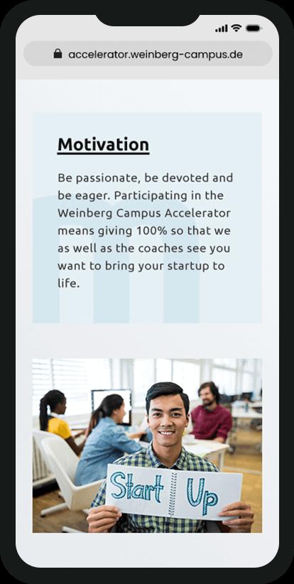 Ausschnitt über Motivation der Teilnehmer des Förderprogramms auf dem Smartphone