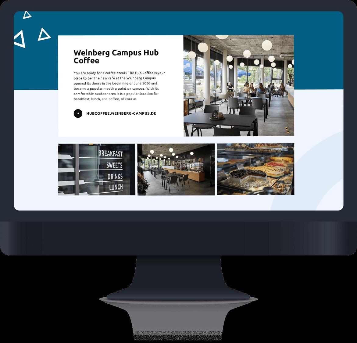 Campus Accelerator Seite mit Bildern der Cafeteria mit Kuchen und gemeinschaftlichen Sitzgelegenheiten