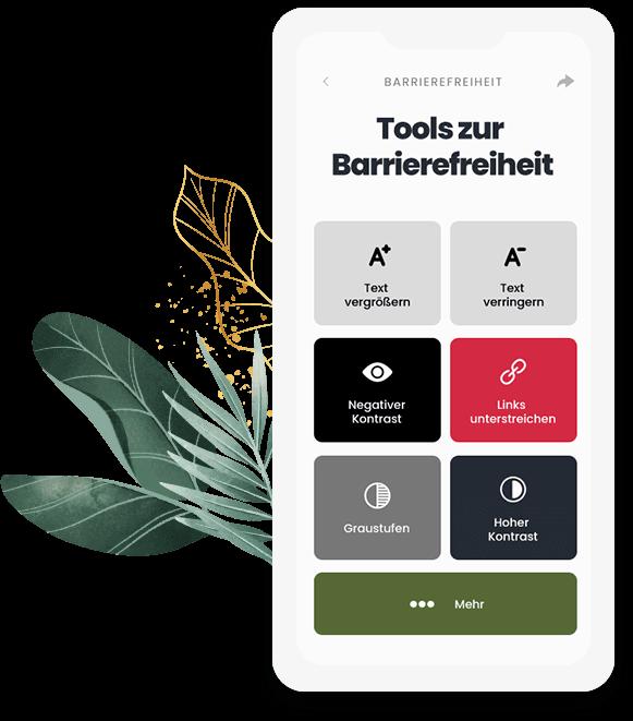 Brrierefreie Website Handyscreen, der die Optionen des Tools zur Barrierefreiheit zeigt (Text vergrößern, Links unterstreichen, Kontrast ändern, usw.)