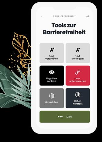 Barrierefreie Website Handyscrren, der die Optionen des Tools zur Barrierefreiheit zeigt (Text vergrößern, Links unterstreichen, Kontrast ändern, usw.)
