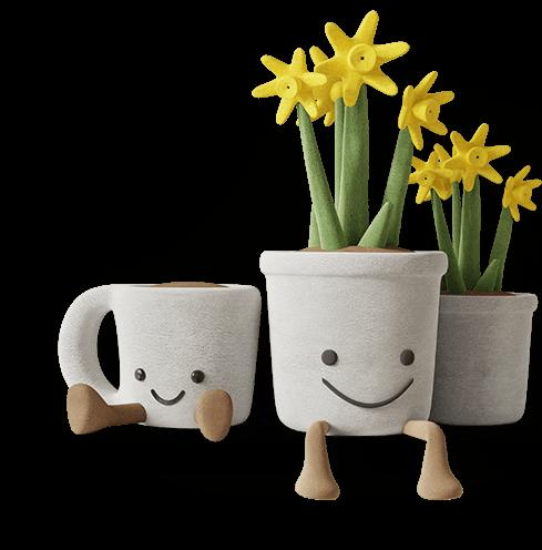 dekorative handgemachte Keramik mit lächelndem Gesicht