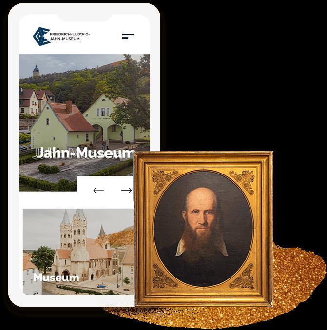 Startbildschirm der Website des Jahn-Museums auf dem Smartphone mit Gemälde von Friedrich Ludwig Jahn