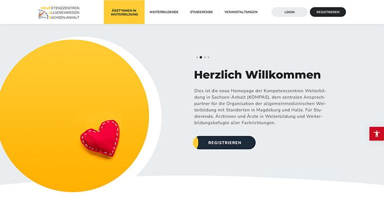 Startbildschirm der KOMPAS-Website auf dem Desktop