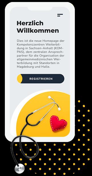 mobile Startseite der barrierefreien Website der Kompetenzzentren Allgemeinmedizin Sachsen-Anhalt